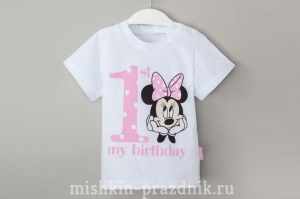 "Футболка ""My 1st Birthday"" 1-2 года / 86-92 см 54-1973"
